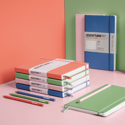 The range of Leuchtturm1917 muted colours of their famous A5 notebook - available in lined, grid and dot grid
