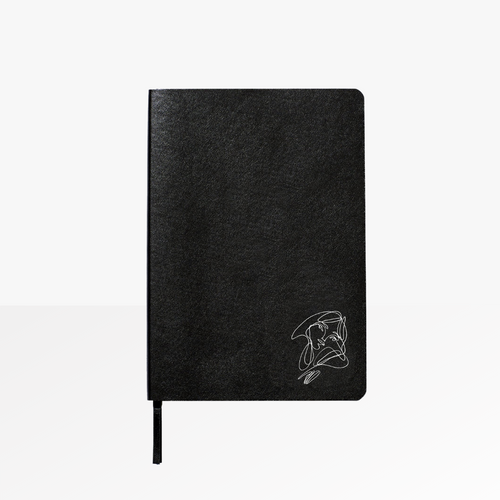 Elissa Barber x AOL Vegan Leather Lined Notebook with white foil detail