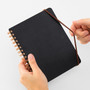 Use the elastic closure to keep your notes protected in the Black Midori B6 Grain Leather Spiral Notebook