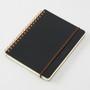 Midori B6 Grain Leather Spiral Notebook in Black has an elastic band closure