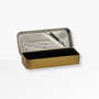 The Kaweco Skyline Fountain Pen in Grey is presented in a Tin Gift Box