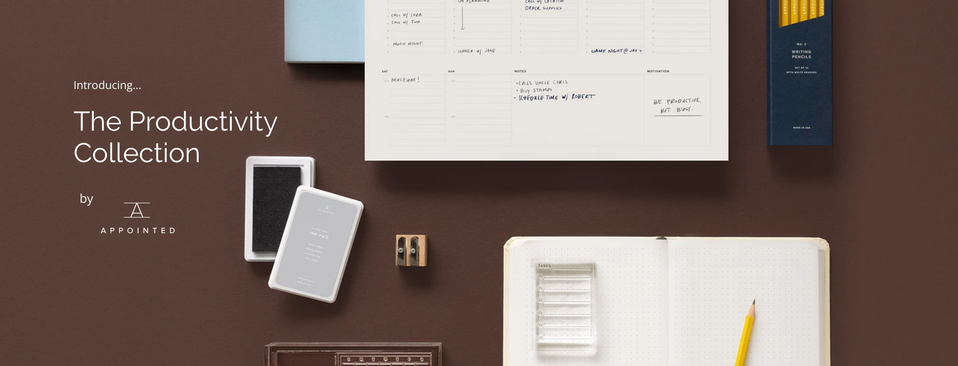 Introducing the Appointed Productivity Collection. The collection includes weekly planning pads, stamps, A5 notebooks and more to help you stay on top of things.