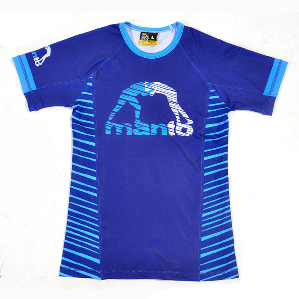 "MANTO ""BEAST"" RASH GUARD Short Slv Blue for Kids"