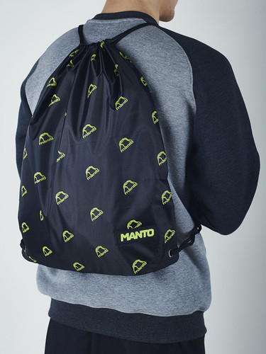 "MANTO ""EMBLEM"" DRAWSTRING BAG Black/Green"