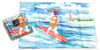 Holiday Christmas Theme Cleaning Cloth, Surfing Santa