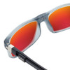 Close Up View of Clic Tube Executive Magnetic Designer Polarized Sunglasses in Matte Grey with Red Mirror Lenses