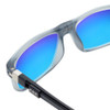 Close Up View of Clic Tube Executive Magnetic Designer Polarized Sunglasses in Matte Grey with Blue Mirror Lenses