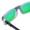 Close Up View of Clic Classic Magnetic Designer Polarized Bi-Focal Reading Sunglasses in Smoke Grey with Green Mirror Lenses
