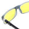 Close Up View of Clic Classic Magnetic Designer Polarized Bi-Focal Reading Sunglasses in Smoke Grey with Sunflower Yellow Lenses