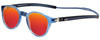 Clic Tube Pantos Magnetic Designer Polarized Sunglasses in Blue Jeans with Red Mirror Lenses
