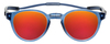 Front View of Clic Tube Pantos Magnetic Designer Polarized Sunglasses in Blue Jeans with Red Mirror Lenses