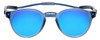 Front View of Clic Tube Pantos Magnetic Designer Polarized Sunglasses in Blue Jeans with Blue Mirror Lenses