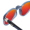 Close Up View of Clic Tube Pantos Magnetic Designer Polarized Sunglasses in Blue Jeans with Red Mirror Lenses