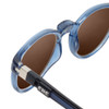 Close Up View of Clic Tube Pantos Magnetic Designer Polarized Sunglasses in Blue Jeans with Amber Brown Lenses