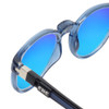 Close Up View of Clic Tube Pantos Magnetic Designer Polarized Sunglasses in Blue Jeans with Blue Mirror Lenses