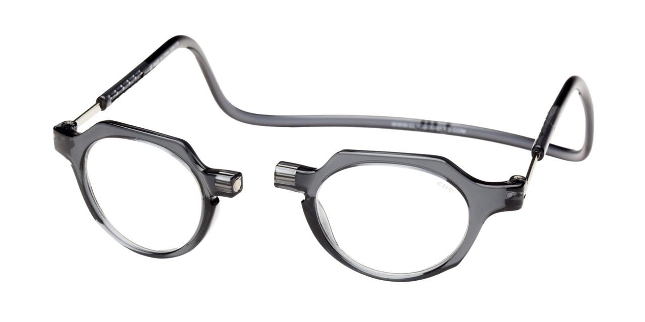 6aebfda343b Clic Metro Oval Reading Glasses in Grey - Clic Magnetic Glasses
