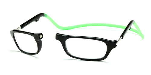 Clic Compact Reading Glasses in Black Frame with Green Headband Custom