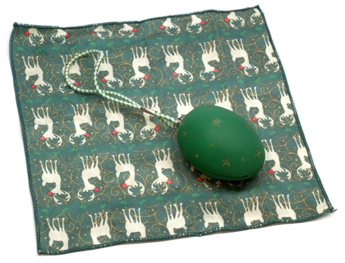 Holiday Christmas Theme Cleaning Cloth, The Egg in Green (Style 1)