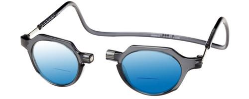 Clic Metro Oval Polarized Bi-Focal Reading Sunglasses in Grey