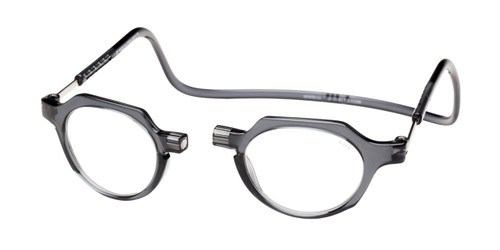 Clic Metro Oval Reading Glasses in Grey with Blue Light Filter & A/R Lenses
