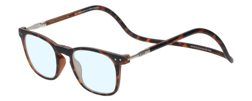 Clic Manhattan Oval Reading Glasses in Tortoise with Blue Light Filter & A/R Lenses