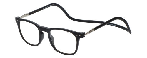 Clic Manhattan Oval Reading Glasses in Black with Blue Light Filter & A/R Lenses