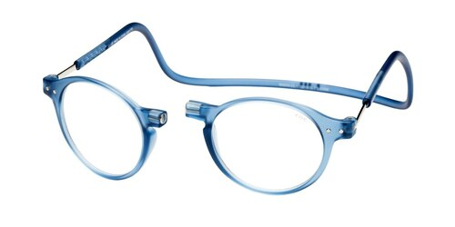 Clic Brooklyn Oval Reading Glasses in Blue Jeans with Progressive Blue Light Filter Lenses