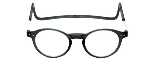 Clic Brooklyn Oval Reading Glasses in Grey with Progressive Blue Light Filter Lenses