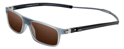 Clic Classic Magnetic Designer Polarized Bi-Focal Reading Sunglasses in Smoke Grey with Amber Brown Lenses