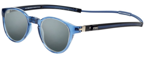 Clic Tube Pantos Magnetic Designer Polarized Sunglasses in Blue Jeans with Smoke Grey Lenses