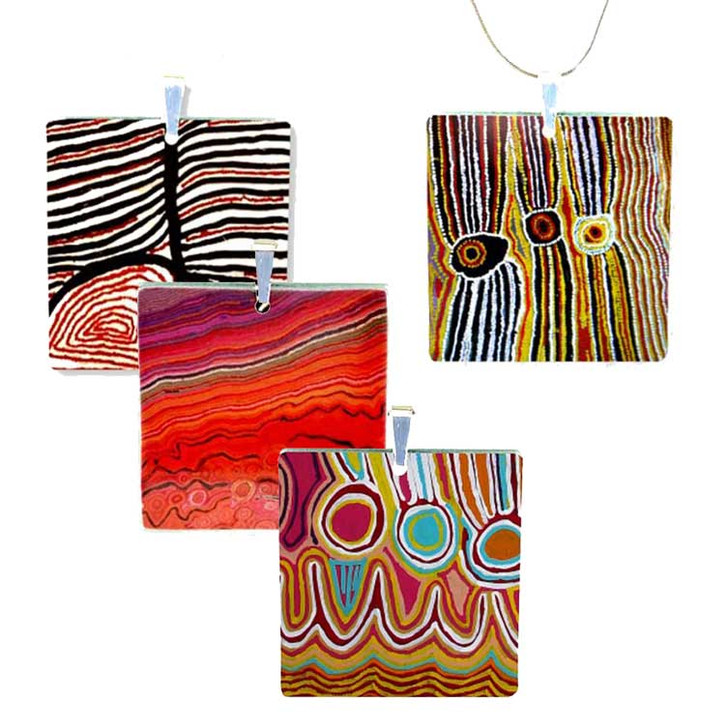 Square Style Pendant Necklace featuring Aboriginal Designs