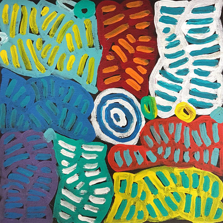 Colourful artwork by Betty Mpetyane of her Mothers Country