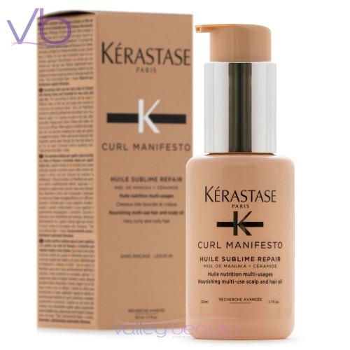 Kerastase Curl Manifesto Huile Sublime Repair | Multi-Use Hair and Scalp Oil for Curls