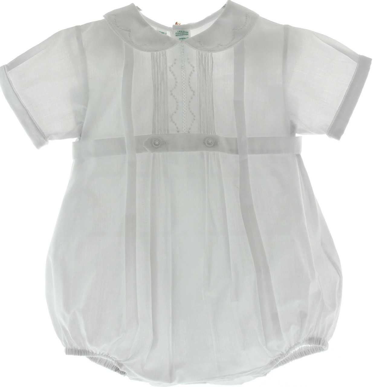 Feltman Brothers Baby Boys White Christening Baptism Bubble Outfit with Collar