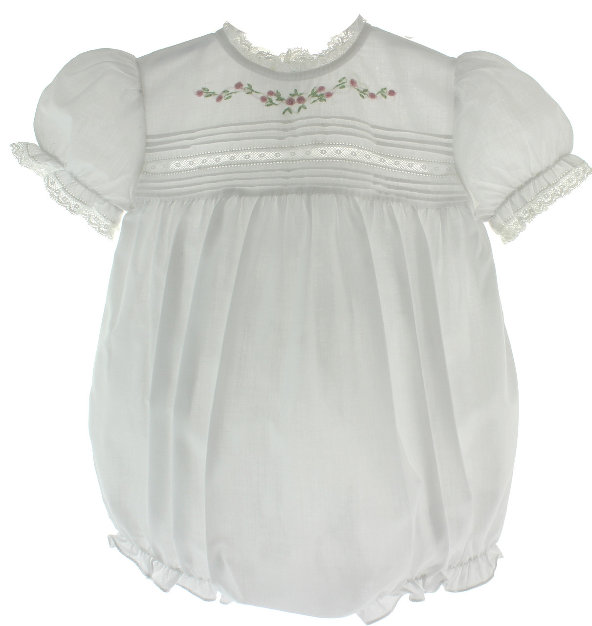 Infant Girls White Dressy Bubble Outfit Lace Trim Heirloom Baby Clothes