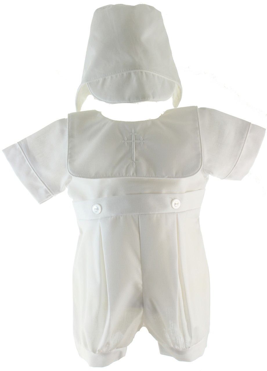 Petit Ami Baby Boys Hand-Embroidered Cross Christening Romper White