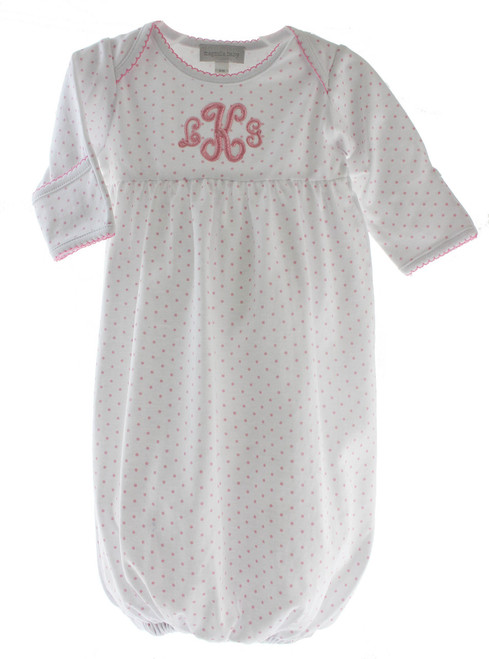 Magnolia Baby Girls White Pink Take Home Gown Mini Dot