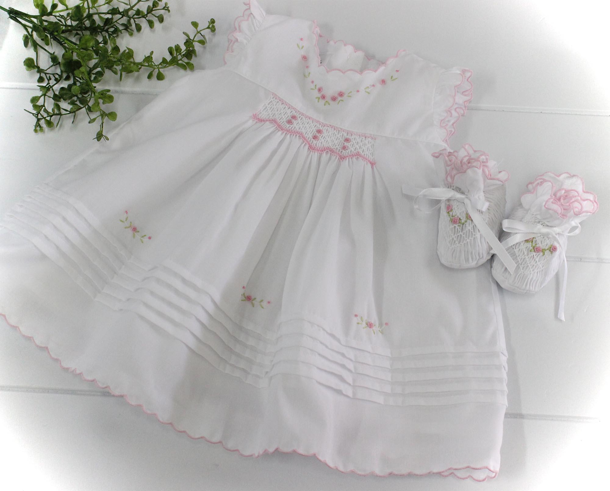 Infant Girls White Pink Smocked Baby Booties Sarah Louise