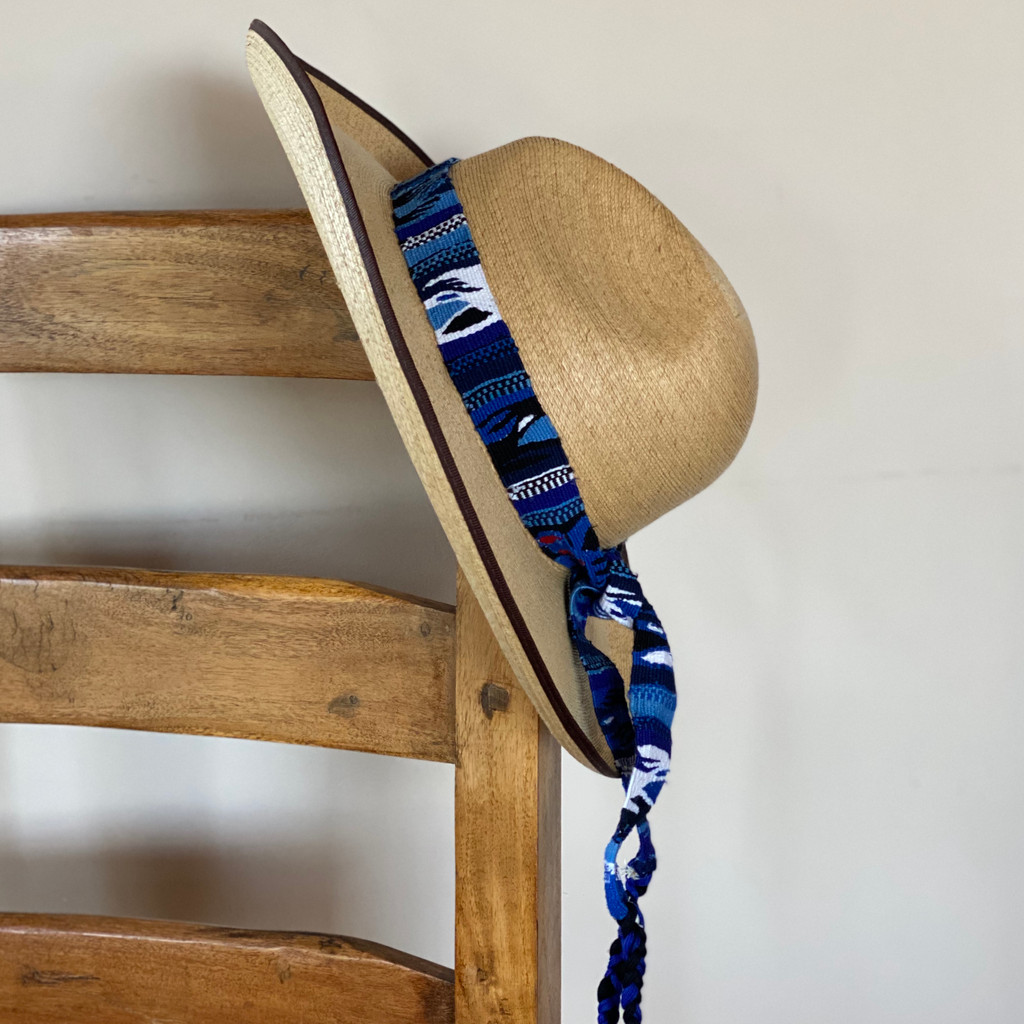 Embroidered Belts Hat Band Wrap Around Tie Blue Multi Color Western Guatemala, Cute Decorative Belt