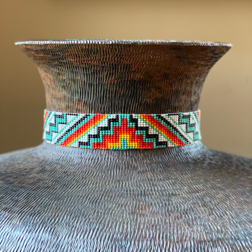 Wide Beaded Hat Band, Turquoise Multi Color, Cowboy and Cowgirl Western Jewelry, Leather Ties, Handmade in Guatemala 1 x 34 Inches