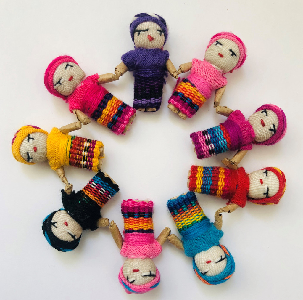 Mini Decorative Worry Dolls, Handmade Cotton Dolls from Guatemala, 2 Inches, Party Favors Gift Ideas, Fun Festive Figurines