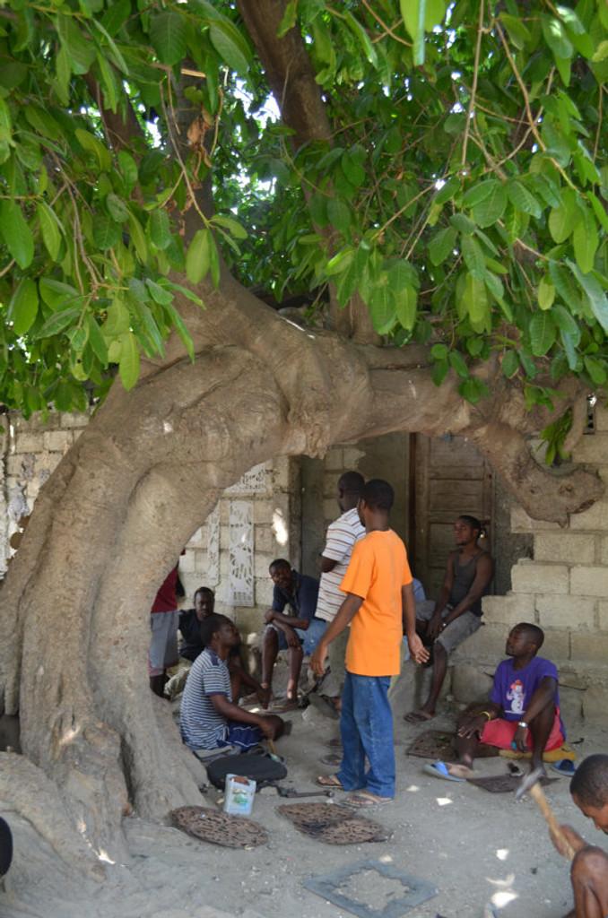 Under the tree art, haiti artist, fair trade recycled art