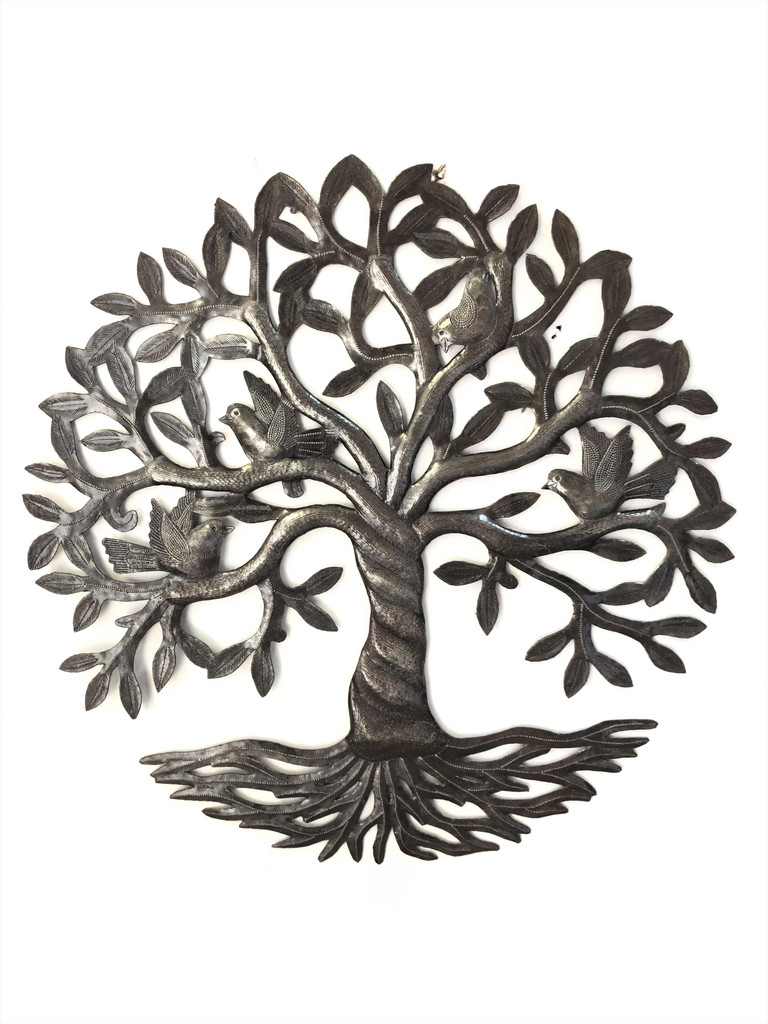 Authentic Upcycled Tree of Life from Haiti, Handmade from Recycled Steel Drum Barrels, 23 Inches Round