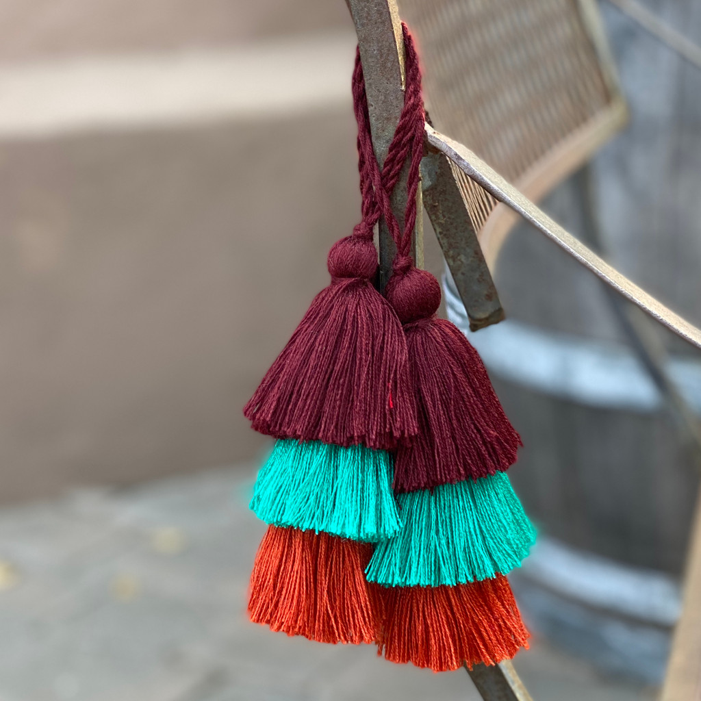 Fall Festive Tassels, Brown, Teal, Orange, Handmade Embellishments, Holiday Party Fringe, 3 Layered Tassel 1.5 x 8 Inches