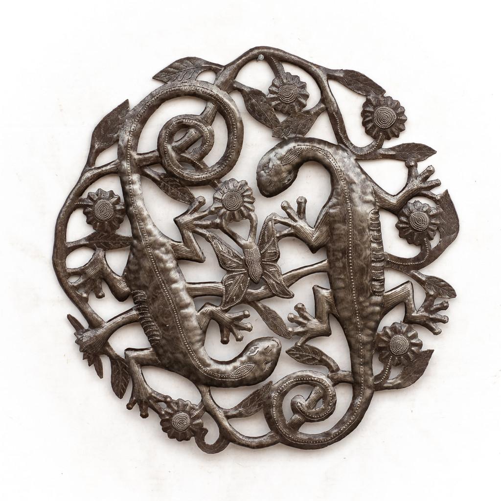 Lizards, Gecko, Flowers, Floral Art, Butterfly, Butterflies, Garden, Eco-Friendly, Upcycled, Recycled, Haitian Folk Art, Haiti, Haitian Pride