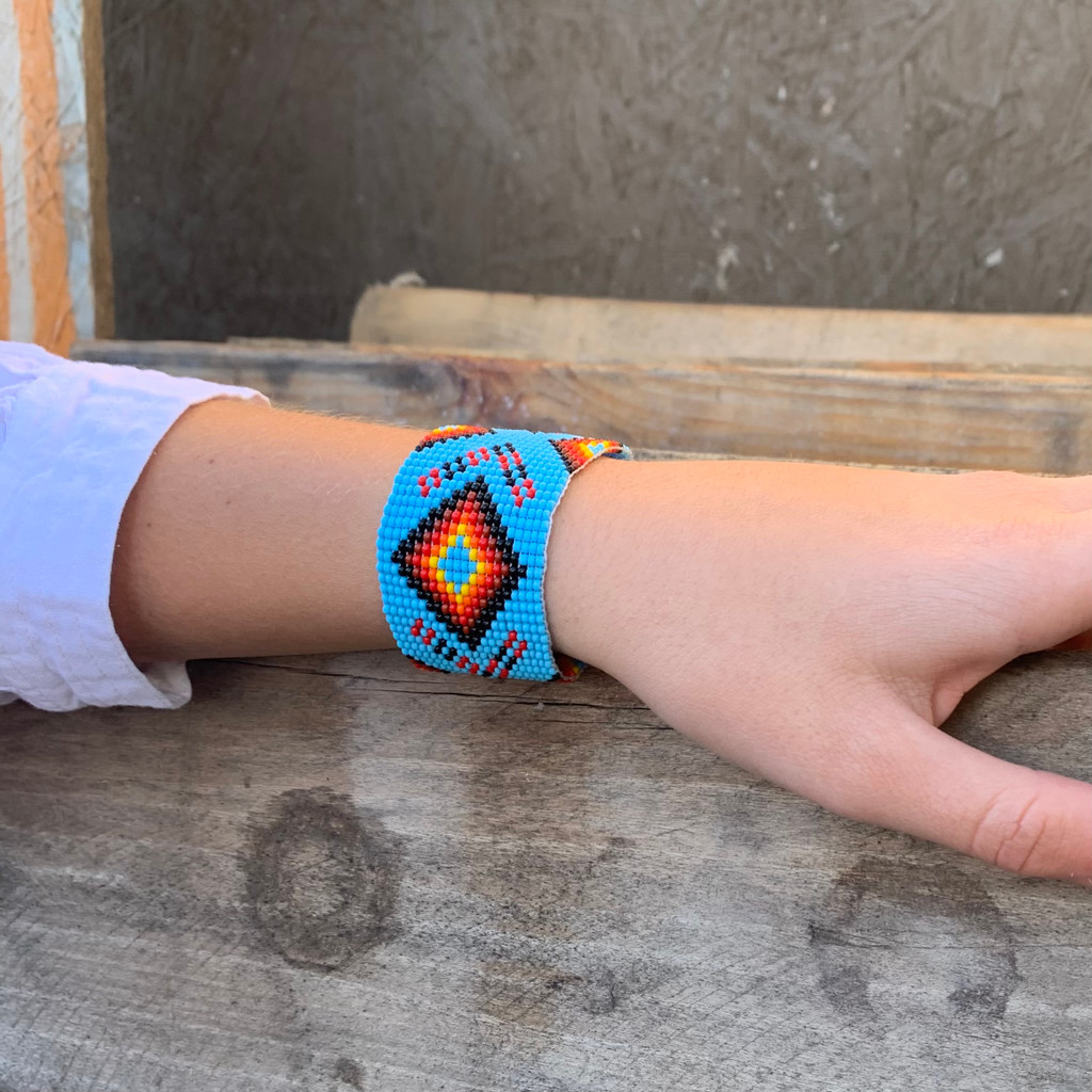 Handmade Wristband Bracelets, Handcrafted Jewelry, Beaded Woven Bracelet, Turquoise, Red, Yellow, Black Color Beads, 1.5 x 8 Inch