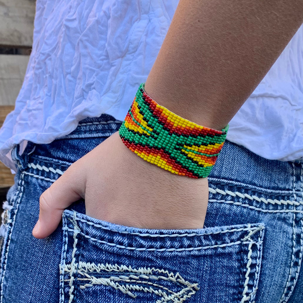 Handmade Wristband Bracelets, Handcrafted Jewelry, Beaded Woven Bracelet, Green, Yellow, Orange, and Black Color Beads, 1.5 x 8 Inch