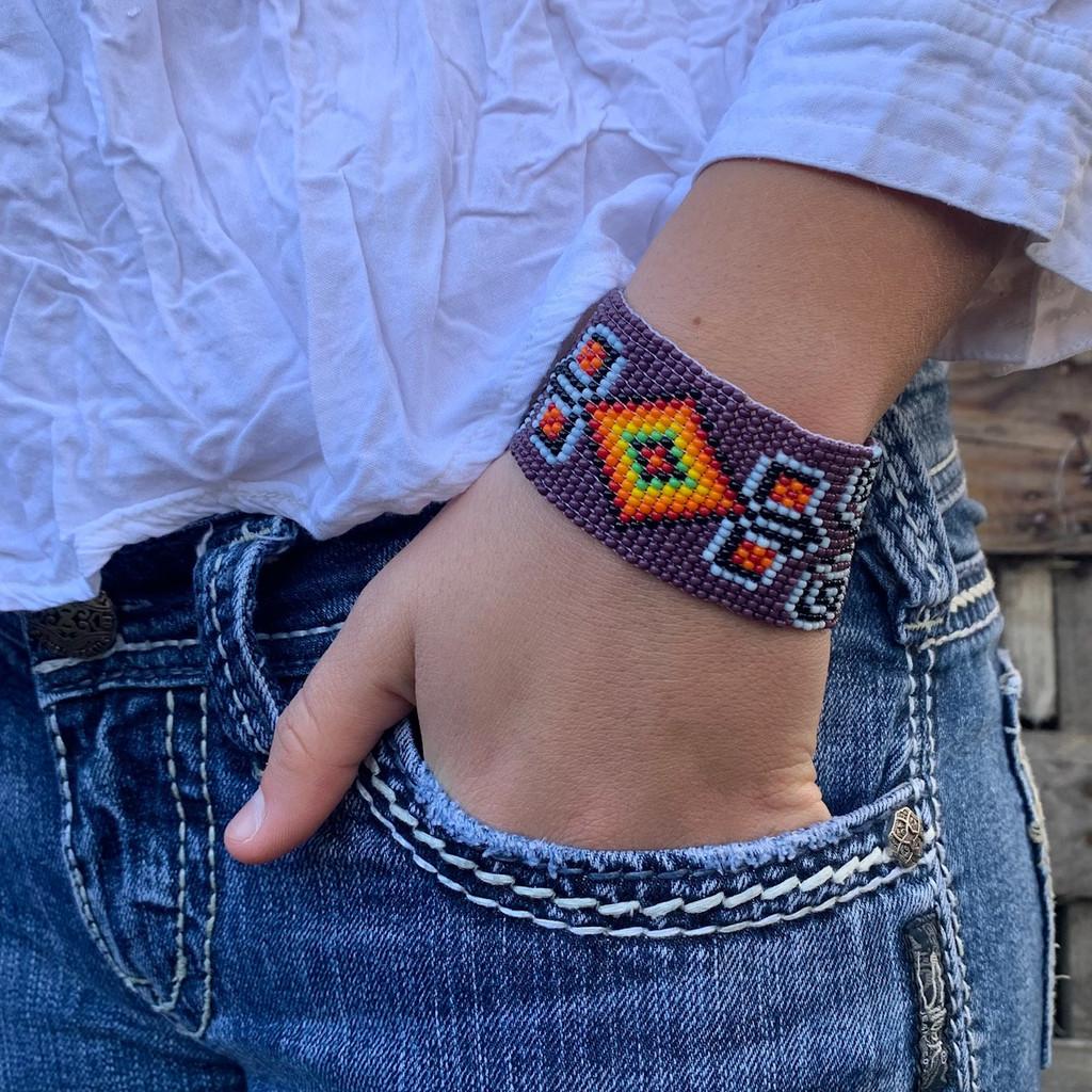 Handmade Purple Beaded Bracelet, Handwoven, Loom, Casual Wristband Jewelry 1.25 x 7.5 Inch