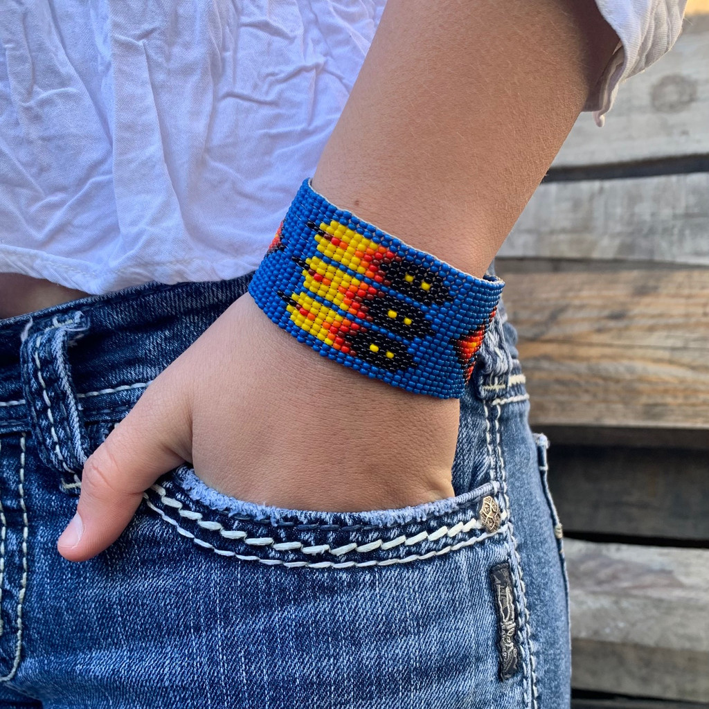 Blue Beaded Bracelet, Handwoven Wristband with Feather Designs, Casual Jewelry Bracelets 1.25 x 7.5 Inch