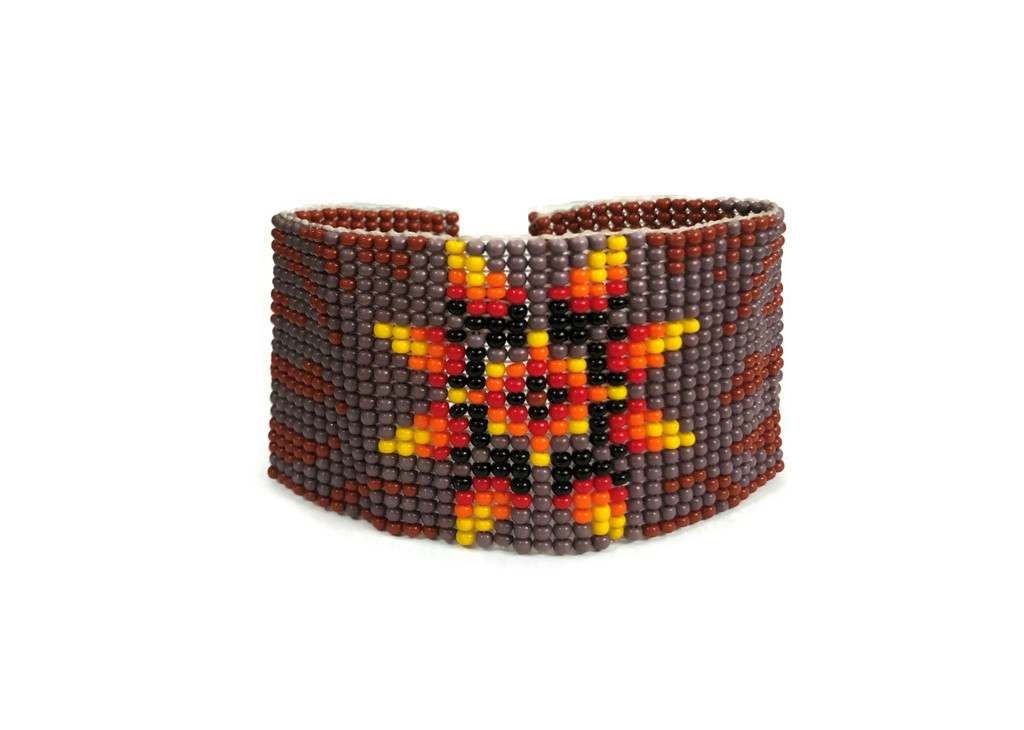 Brown Beaded Wristband Bracelet with Flower Design, Handcrafted, Casual Bracelets, Loom, Jewelry, Multicolored Seed Beads 1.25 x 7.5 inch